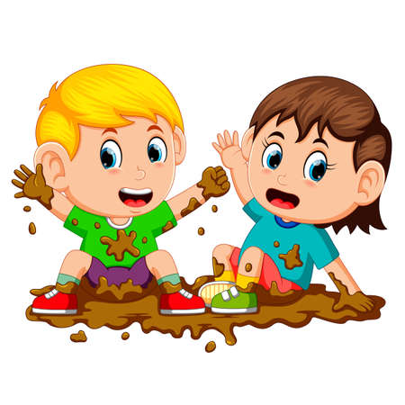two kids playing in the mud Illustration