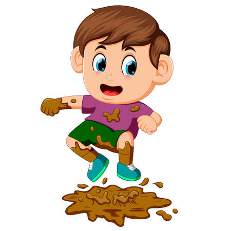 boy jumping in the mud Stock Photo