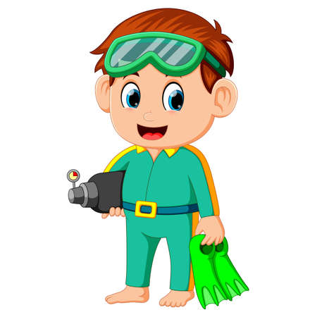 funny boy prepare to diving Stock Photo