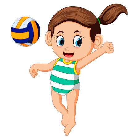 young woman playing volleyball on beach