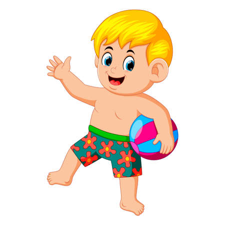 little boy with beach ball enjoying his vacation