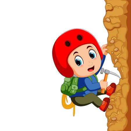 Young man rock climber Banco de Imagens