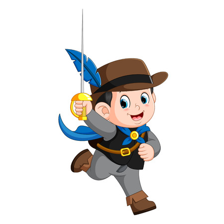 Cute musketeer with sword Illustration