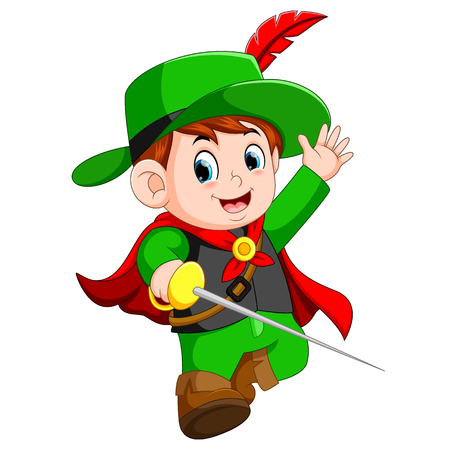 funny musketeer with sword Vectores
