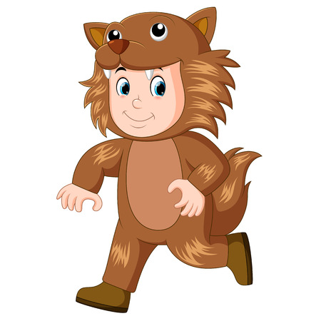 kid wearing a werewolf mask & costume for halloween