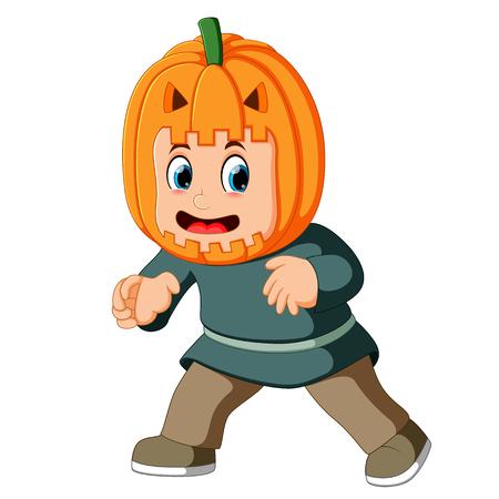 Happy Kid Wearing Scarecrow Costume