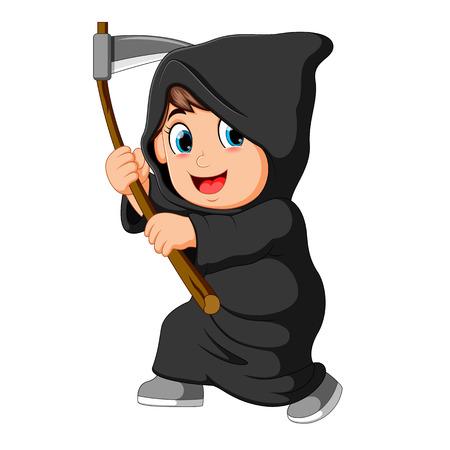 ragazzo che indossa il costume di Grim Reaper con la falce