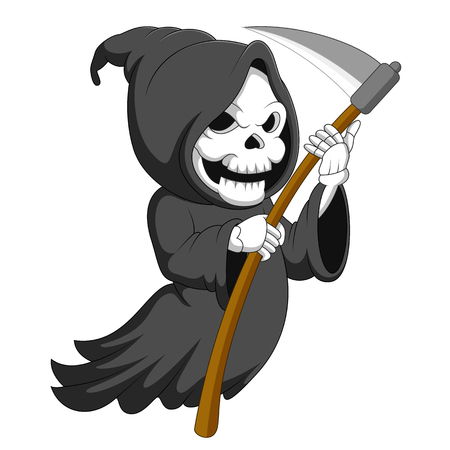 Cute cartoon grim reaper with scythe
