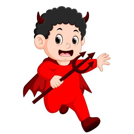 Little kids in halloween red devil costume Vectores
