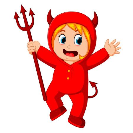 Kleine Kinder im Halloween Red Devil Kostüm