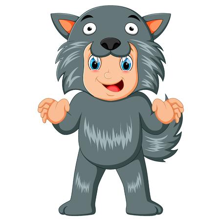 niño con máscara y disfraz de hombre lobo para halloween Ilustración de vector