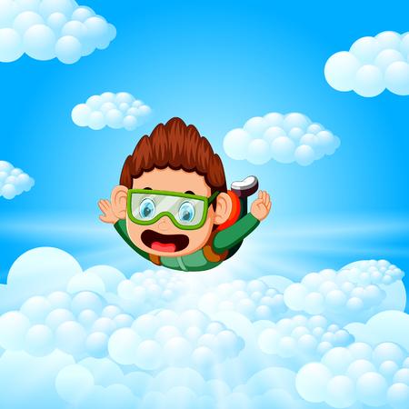 Allein Fallschirmspringer ist im freien Fall