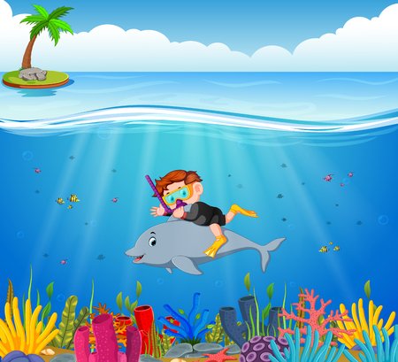 Cartoon boy diving in the sea with dolphin Ilustração