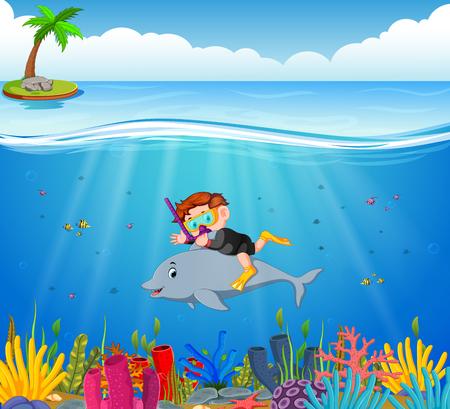 Garçon de dessin animé plongée dans la mer avec dauphin