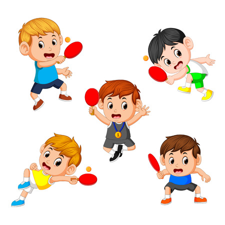 group collection of various positions of the tennis table player