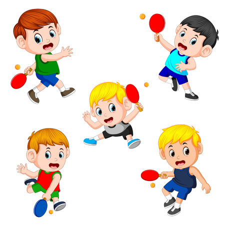 The various positions of the tennis table player