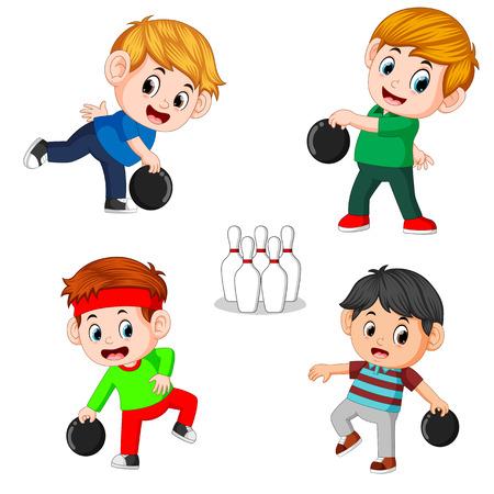 Die verschiedenen Positionen des Bowlingspielers