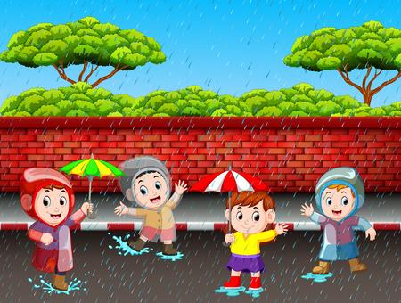 Many children running in the rain 向量圖像