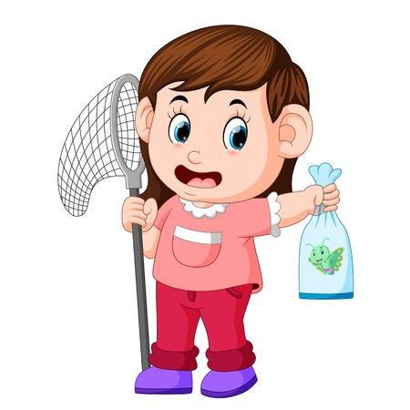 young girl with butterfly net is catching butterfly