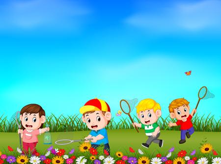 Niños de dibujos animados atrapando mariposas en el jardín