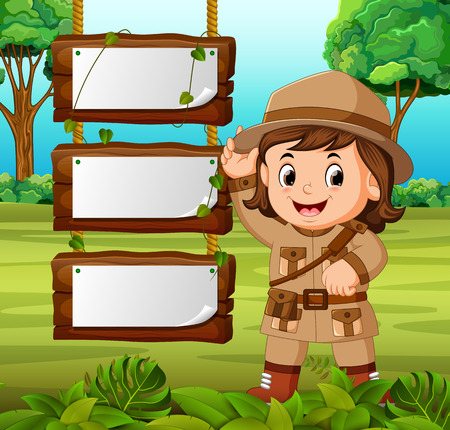 Young girl adventurer with blank wood background