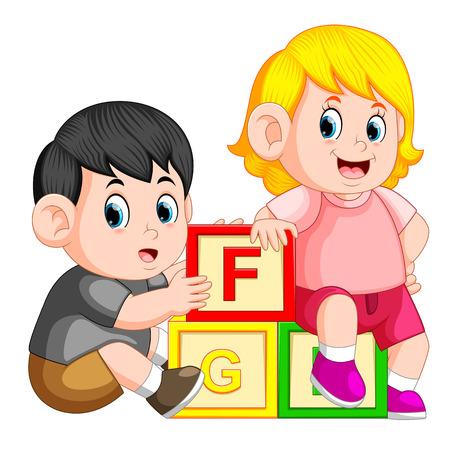 kids playing with alphabet block  イラスト・ベクター素材