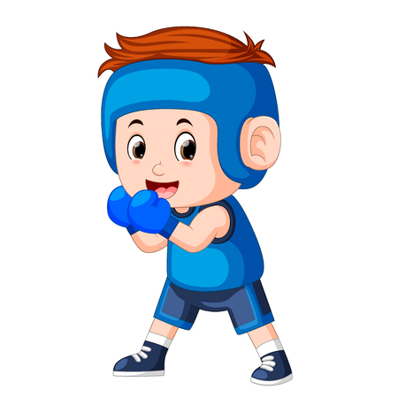 the profesional atletes boy plays boxing with the good posing Illustration