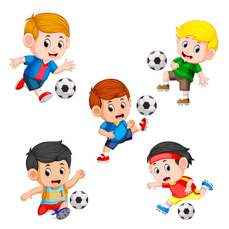 collection of soccer children player with the different posing