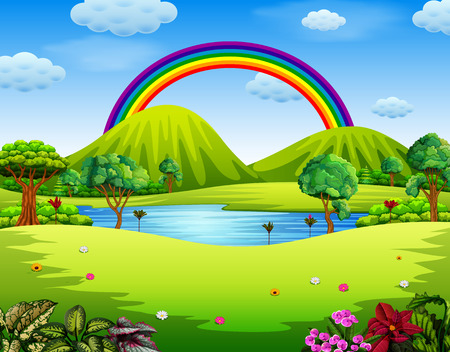 a colorfull garden with the beautiful rainbow Ilustracja