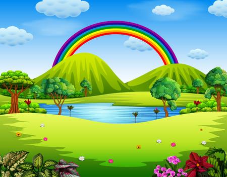 un giardino colorato con il bellissimo arcobaleno Vettoriali