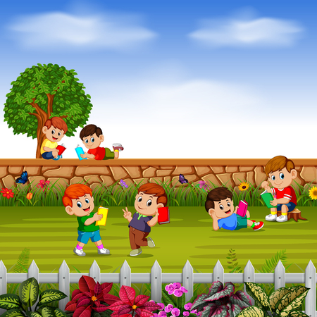 happy children learn together with their friends in their garden