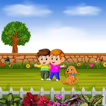 the boys walk with their dog in garden