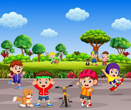 Los niños juegan y hacen deporte juntos en la carretera.
