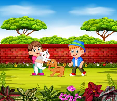 Los niños juegan con sus mascotas cerca de la pared roja. Ilustración de vector