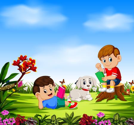 los niños leyendo un libro y jugando con su perro.