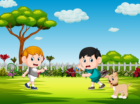 the children playing badminton and the dog watch them Ilustración de vector