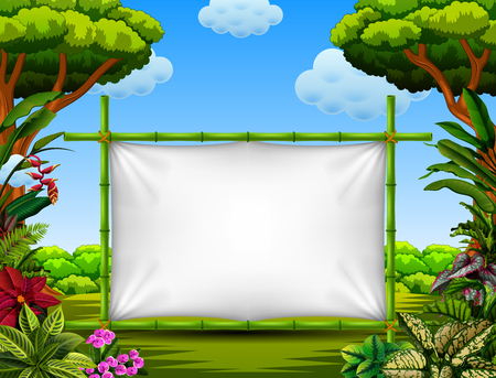 beautiful nature frame with the tree and flower accent Banque d'images - 107995615