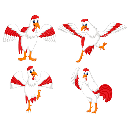 the collection of the cock with the different posing