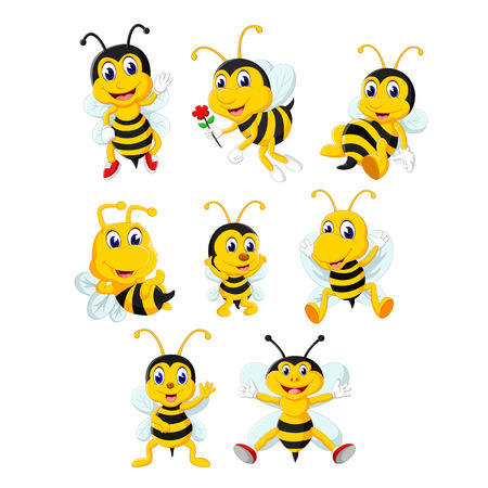 the collection of the yellow bee in the different posing and size Çizim