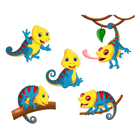 the collection of the chameleon with the fullcolour and different posing Illustration