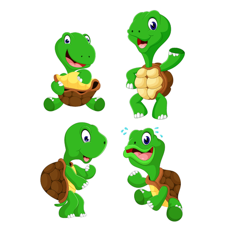 the collection of the green tortoise with different posing Ilustracja