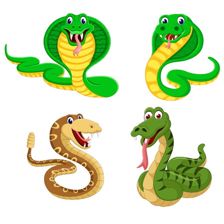 the collection of the big snakes in the different expression Illustration