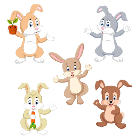 the collection of the rabbits in the different color and possing