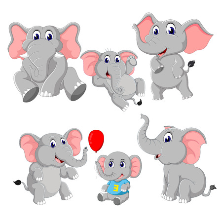 the collection of the elephant and baby elephant  イラスト・ベクター素材