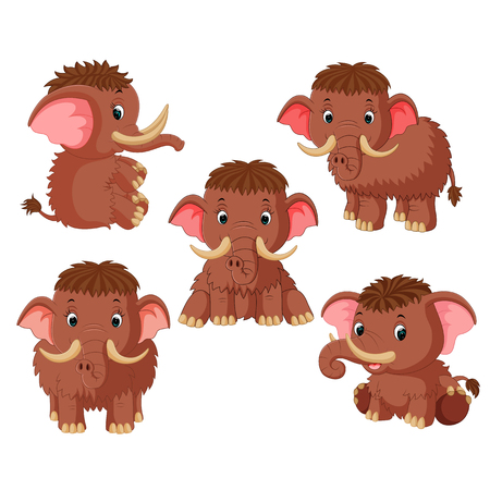 the collection of the mammoth with different pose Ilustração