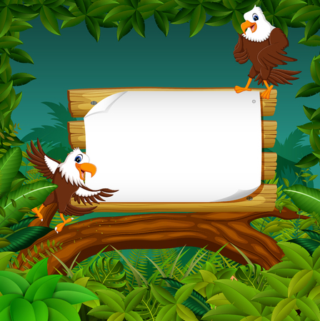 the wooden board blank space with the dashing eagle with forest background