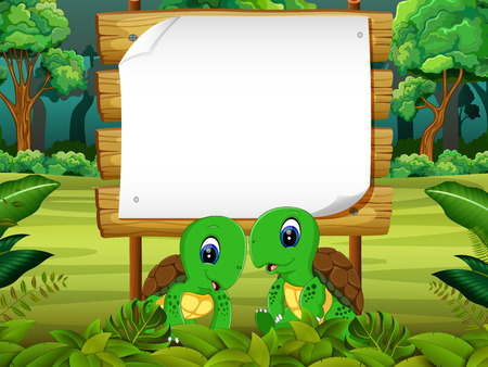 the wooden board blank space with two couple turtle with forest background