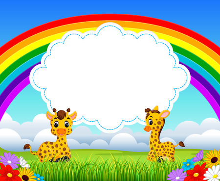 the nature view with the cloud board blank space and two baby giraffe playing Illustration