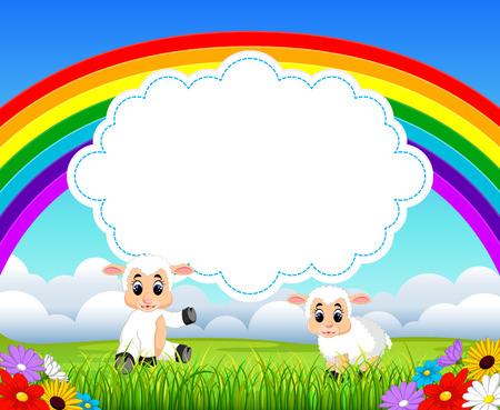 the nature view with the cloud board blank space and a baby sheep sitting near it