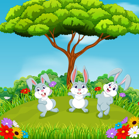 the beautiful view with three rabbits playing together under the huge tree Illustration